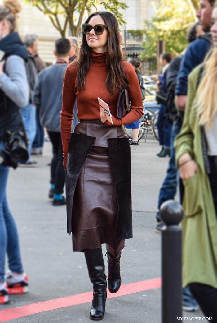 Poslovni look: kako kombinirati dolcevitu; dolčevita i kožna uska suknja boje kestena