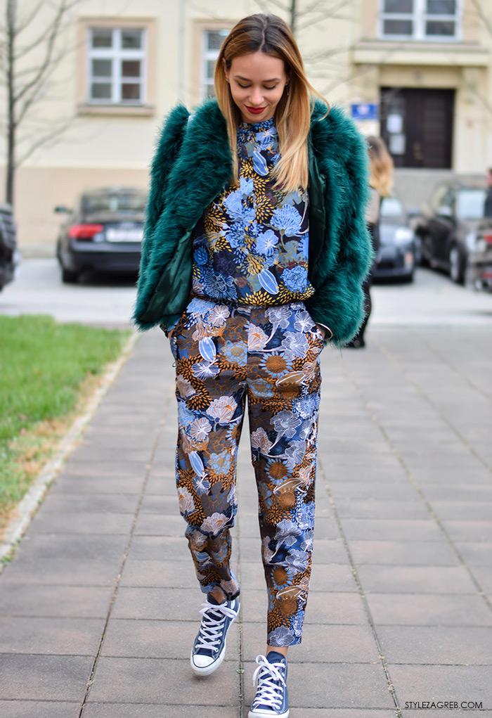 Zagreb street style moda, Tija Malik, zelena bunda i šareni kombinezon