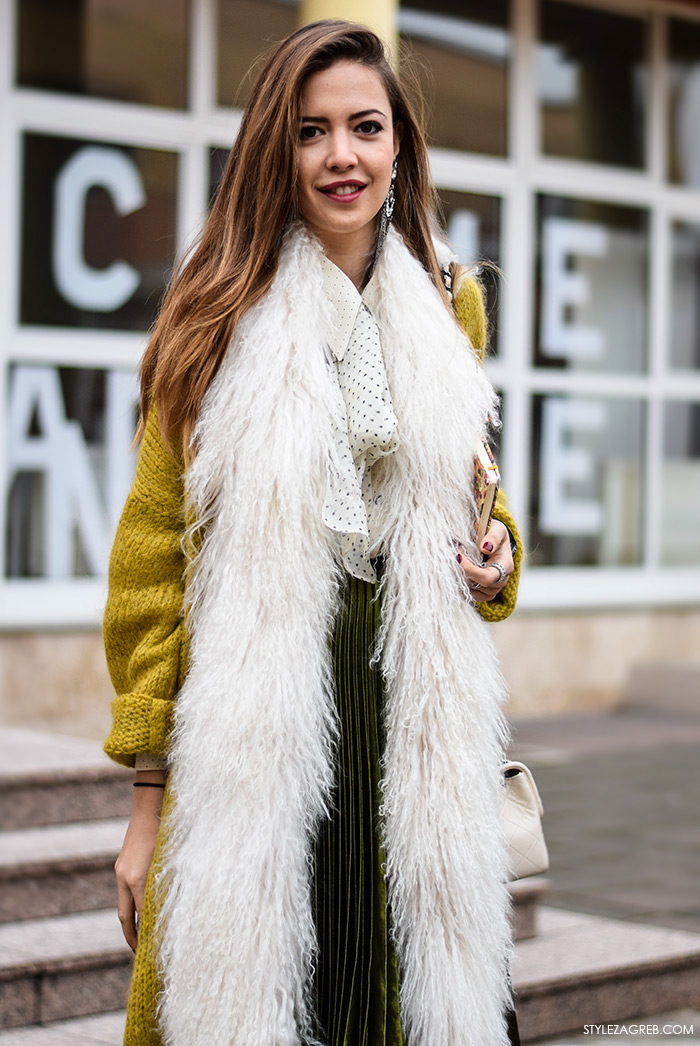 Zagreb street style moda, Milica Mihajlović, midi zelena plisirana suknja