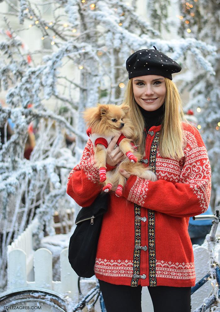 Arhitektica Nina Mia Čikeš stil, ulična moda advent u Zagrebu, street style, moda zima crveni džemper i beretka, čizme s resama, johann franck, ulična moda StyleZagreb.com