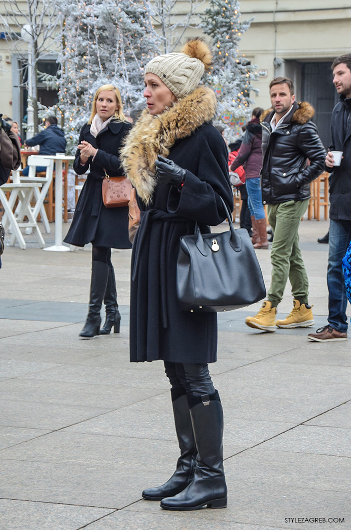 Advent Zagreb street style moda, kako kombinirati kaput i čizme do koljena