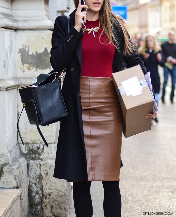 poslovno odijevanje, ženska poslovna moda, kako nositi usku smeđu kožnu suknju, zagreb street style