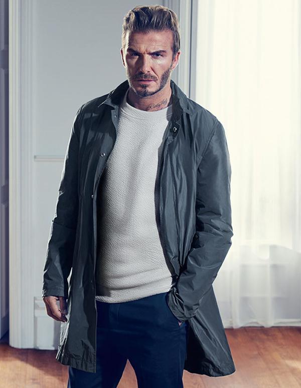 muška moda David Beckham H&M kako kombinirati vjetrovku, traperice i sweatshirt