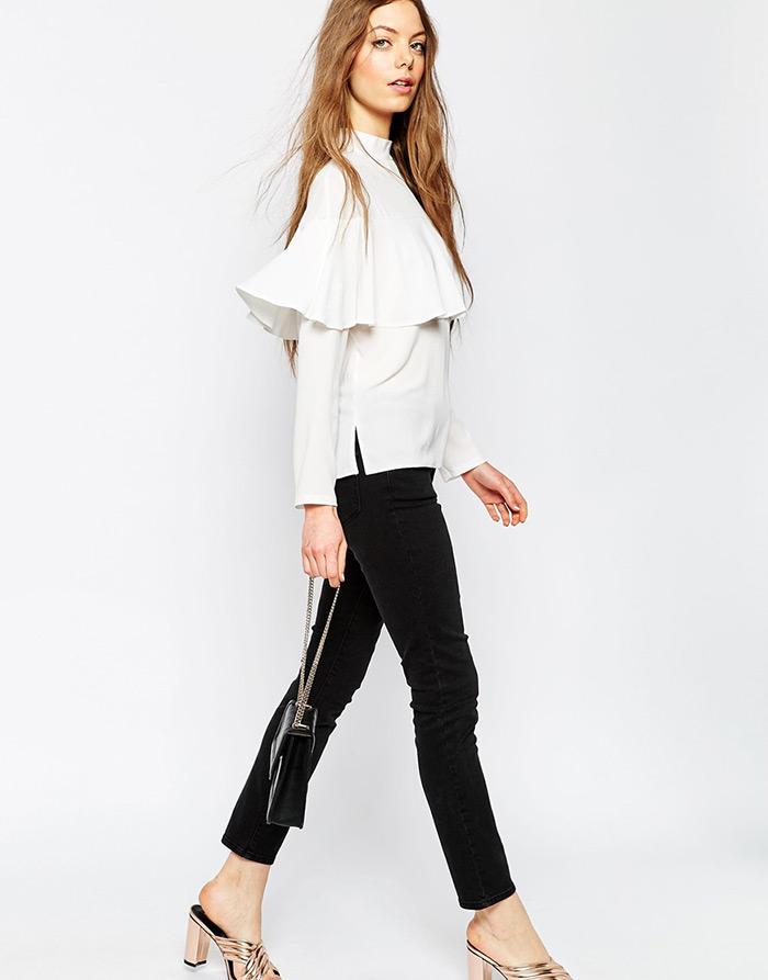 Kako nositi košulje s volanima, MODA: Bijela košulja s volanima a la Miu Miu iz Asosa, kako nositi, ideje za dnevni stajling