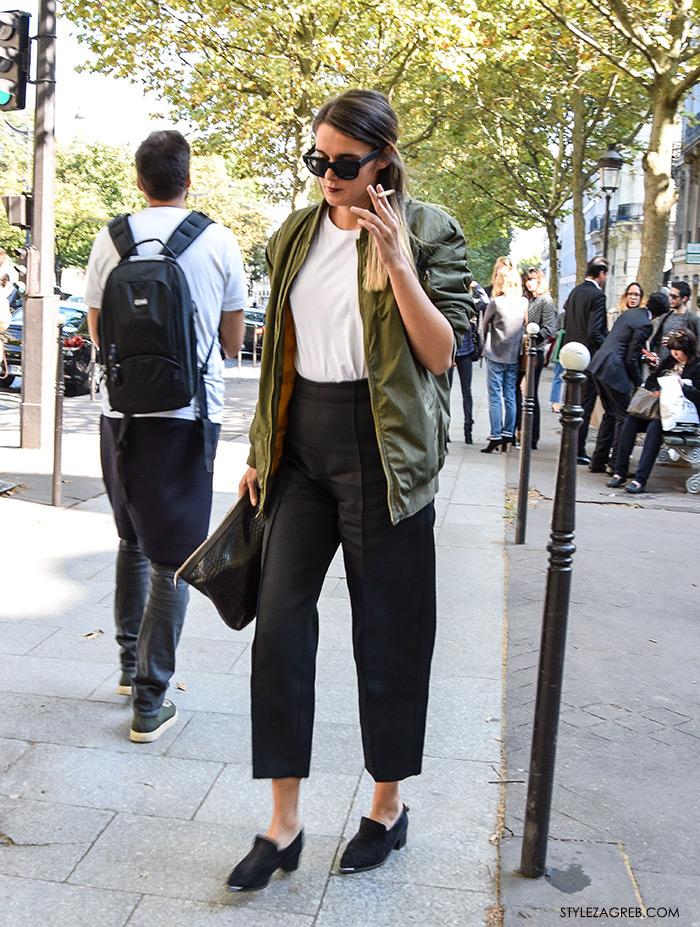 MODA: Kako kombinirati - street style outfit sa bomber jaknom, crne kratke hlače i bijela majica