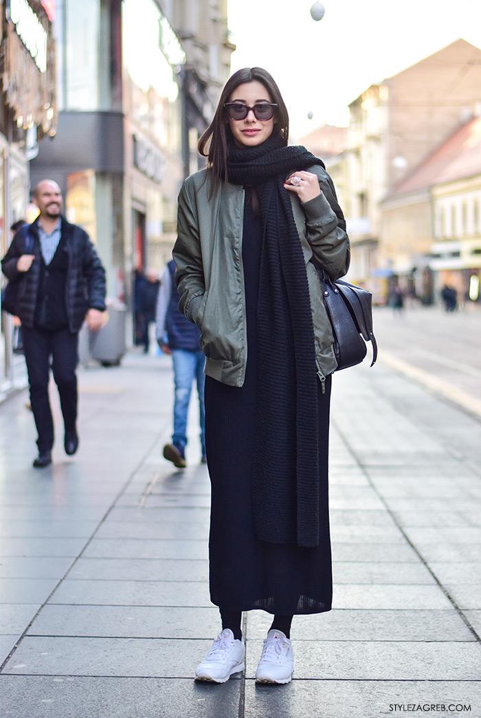 Zagreb street style outfit sa bomber jaknom i bijelim tenisicama, modna dizajnica Marija Kulušić
