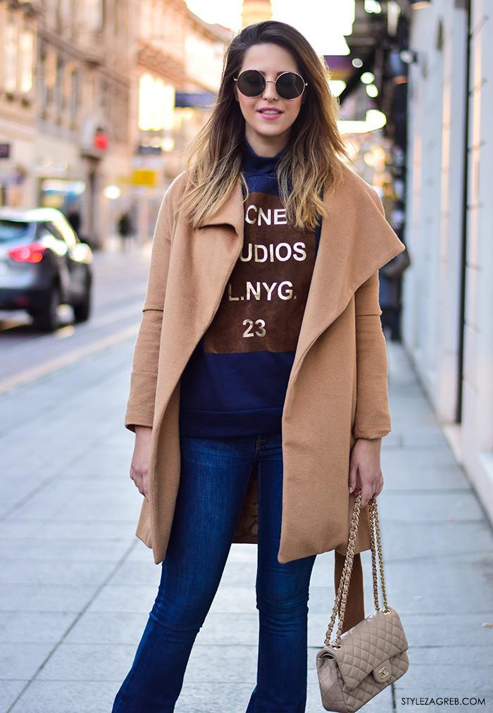 Street style moda Zagreb veljača 2016. Franka Mudronja, managerica.  Ideje za svakodnevni stajling MODA: Kako kombinirati trapezice, Chanel torbu, tenisice, okrugle sunčane naočale i bež kaput.