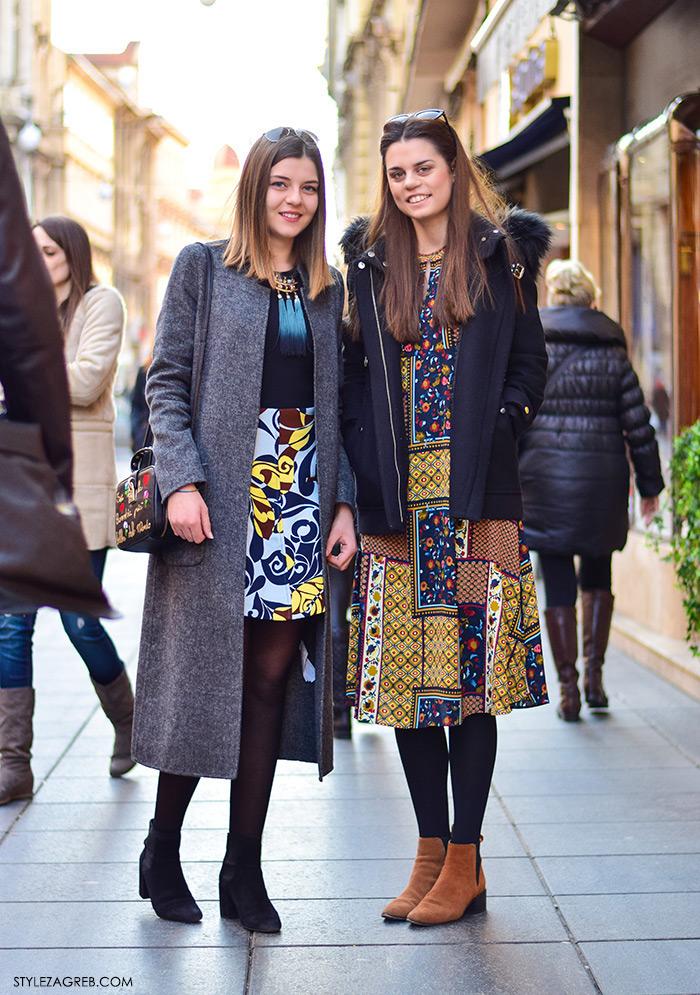 Street style moda Zagreb veljača 2016. Ana Prkačin, studentica informatike i Ivana Prkačin, studentica ekonomije. Ideje za svakodnevni stajling MODA: Kako kombinirati boho haljinu i zimski look