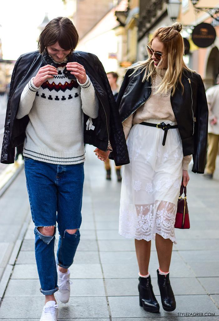 Zagreb street style stylish frendovi Antonella Bacic instagram Marin Simone Goluza, ulična moda zagrebačka špica, muški stil: kako kombinirati bajkersku jaknu, poderane traperice i bijele tenisice, ženski stil: kako kombinirati bajkersku jaknu, dolčevitu i suknju od čipke