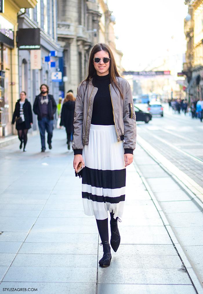 bomber jakna i suknje kombinacija, Zagreb street style, proljetna moda, bomber jakne, stylezagreb, Andrea Zorić, studentica iz Zadra