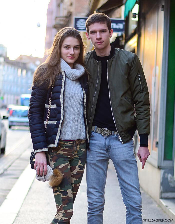 Moda: street style Zagreb, muška bomber jakna, ženska moda:dolčevita i skinny maskirne hlače stajling, Aleš i Sonja