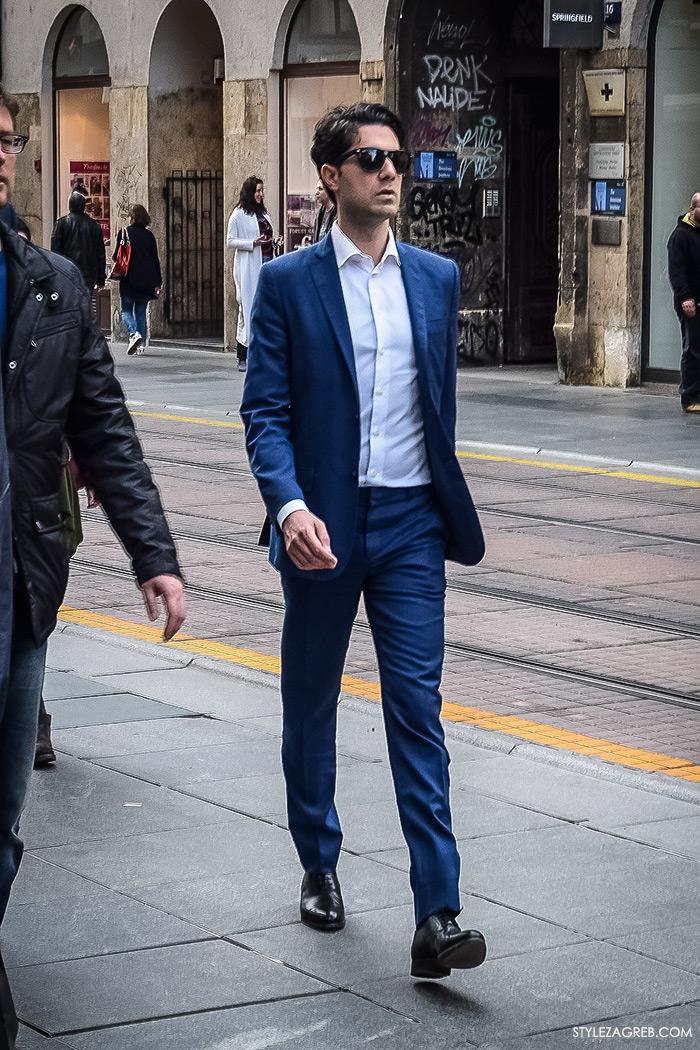 Zagreb street style, zagrebacka spica moda 2016, proljeće muška ulična moda dečki, Style Zagreb, klasično plavo odijelo bijela košulja bez kravate