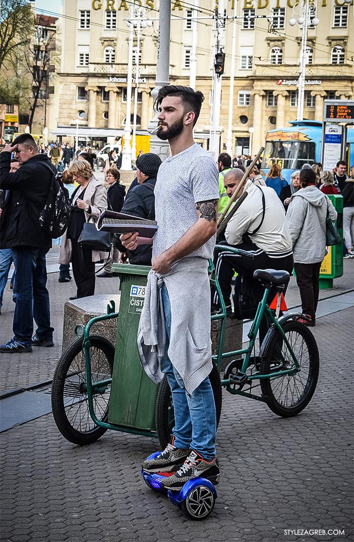 Zagreb street style, zagrebacka spica moda 2016, proljeće muška ulična moda dečki, Style Zagreb fotke, frajer na hoverboardu u trapericama, tetovaža