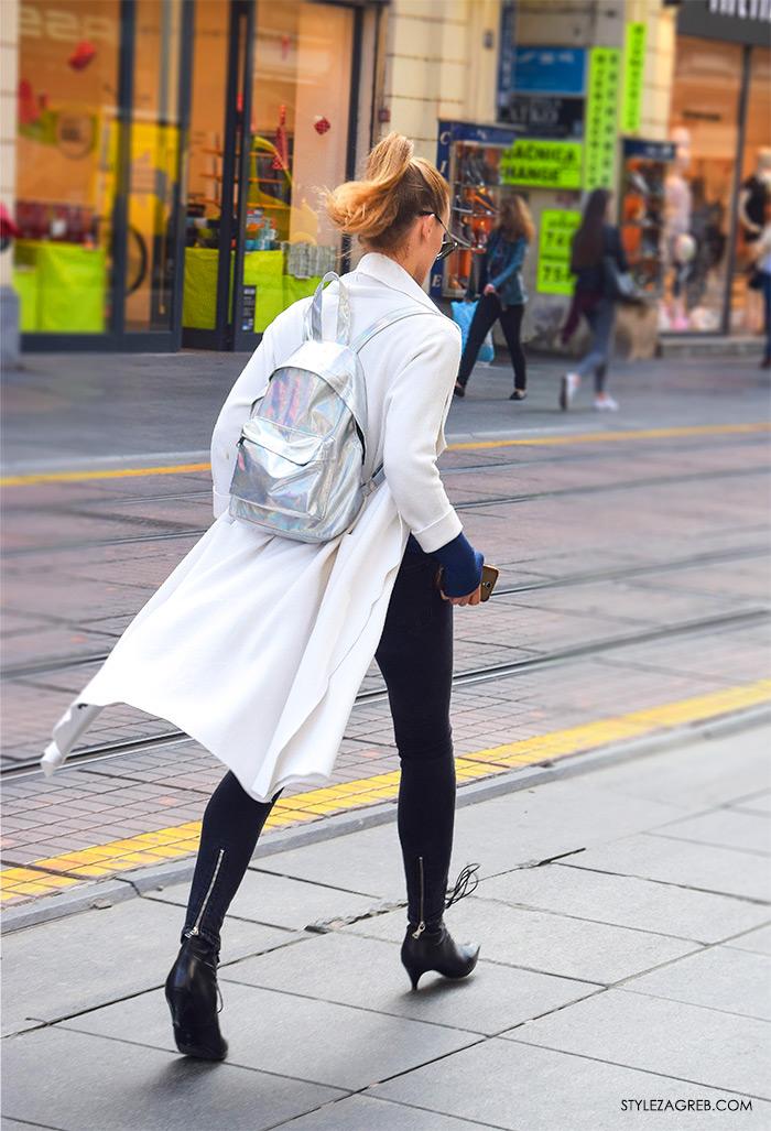 LEPRŠAVI BALONERI - kako cure kombiniraju bijeli baloner i metalik srebni ruksak, Zagreb street style proljetna moda fashion žena hr zagrebačka špica modne kombinacije trend portal zena forum hr by StyleZagreb.com