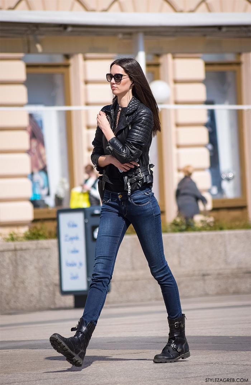 Lijepa cura u bajkerskoj jakni, žena proljetna moda fashion hr zagrebačka špica, street style Zagreb