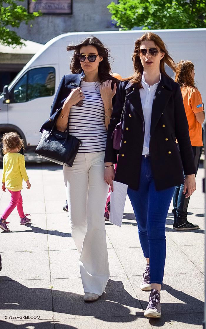 Zagrebačka špica, proljetni street style trendovi i modne kombinacije, kako kombinirati bijele trapez hlače i prugastu majicu, Zagreb street style moda