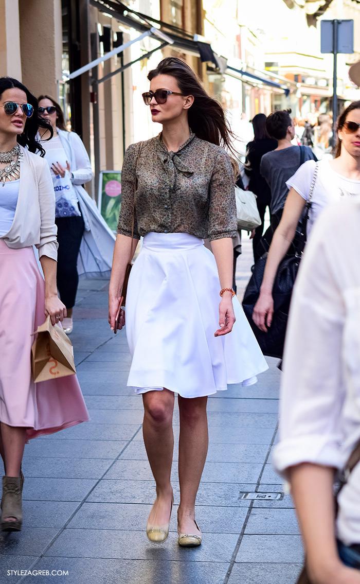 Andrea Ascic instagram, Zagrebačka špica, proljetni street style trendovi i modne kombinacije, kako kombinirati bijelu midi suknju i prozirnu košulju, Zagreb street style