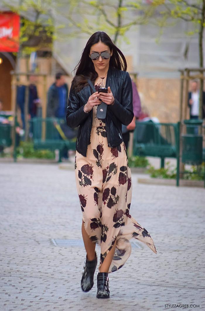 Zagrebačka špica, proljetni street style trendovi i modne kombinacije, kako kombinirati maksi haljinu, Zagreb street style