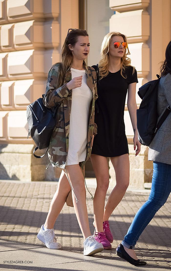 Zagrebačka špica, proljetni street style trendovi i modne kombinacije, kako nositi mini haljinu i tenisice