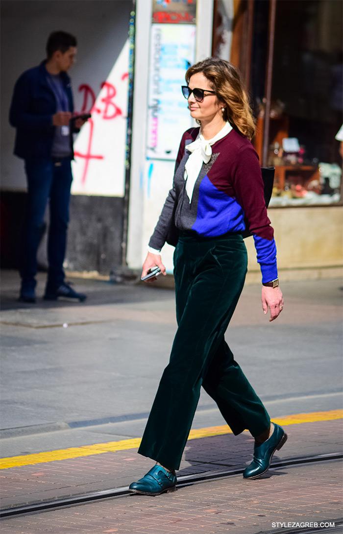 Baršunaste široke hlače, bluza s mašnom i ravne cipele. Poslovna odjeća ulična moda Style Zagreb, gloria časopis za žene, život i zdravlje, poslovna žena, zadovoljna žena