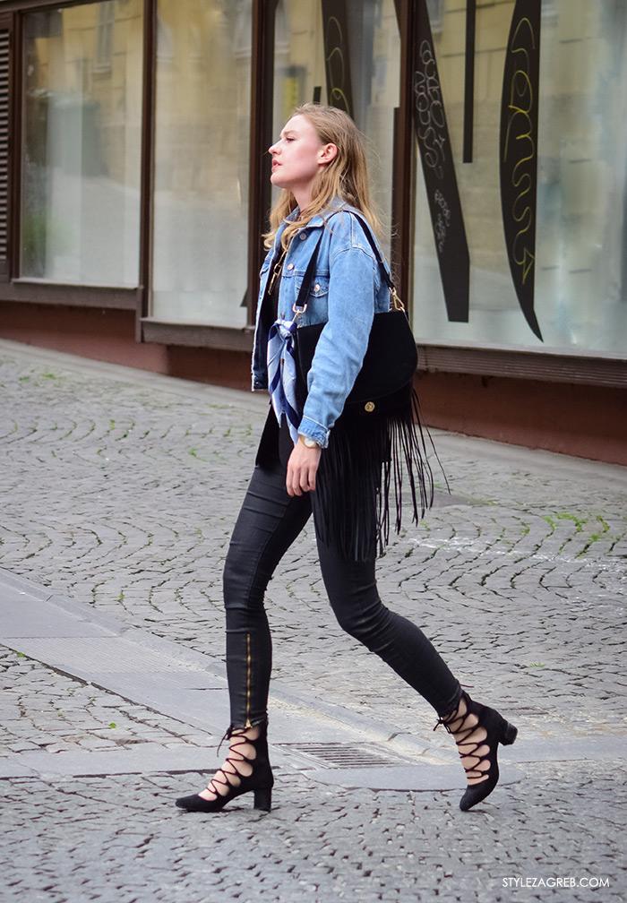 Street Style Zagreb, ulična moda fashion Zagreb Hrvatska Croatia, kako kombinirati traper jaknu, crni sako, choker, cipele na vezanje, Style Zagreb Instagram moda, zagrebačka špica modne kombinacije trend portal zena