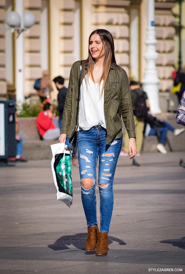 online trgovina zanimljive military jakne, street style Zagreb ulična moda, jakna maskirni uzorak, podrapane traperice