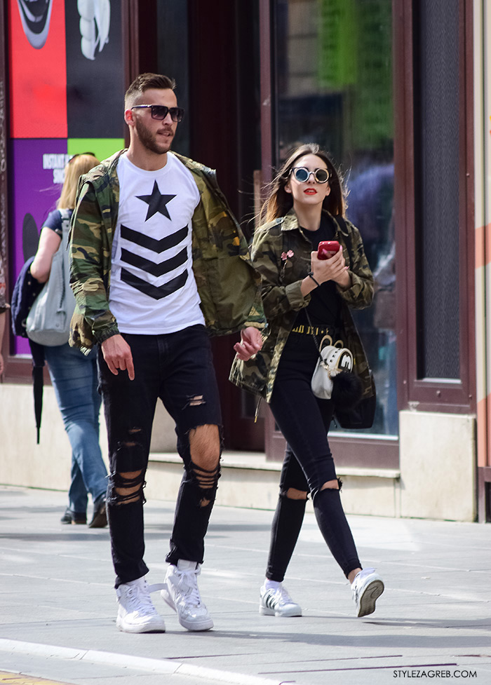online trgovina zanimljive military jakne, street style Zagreb ulična moda, jakna maskirni uzorak, podrapane traperice, muška moda žena hr