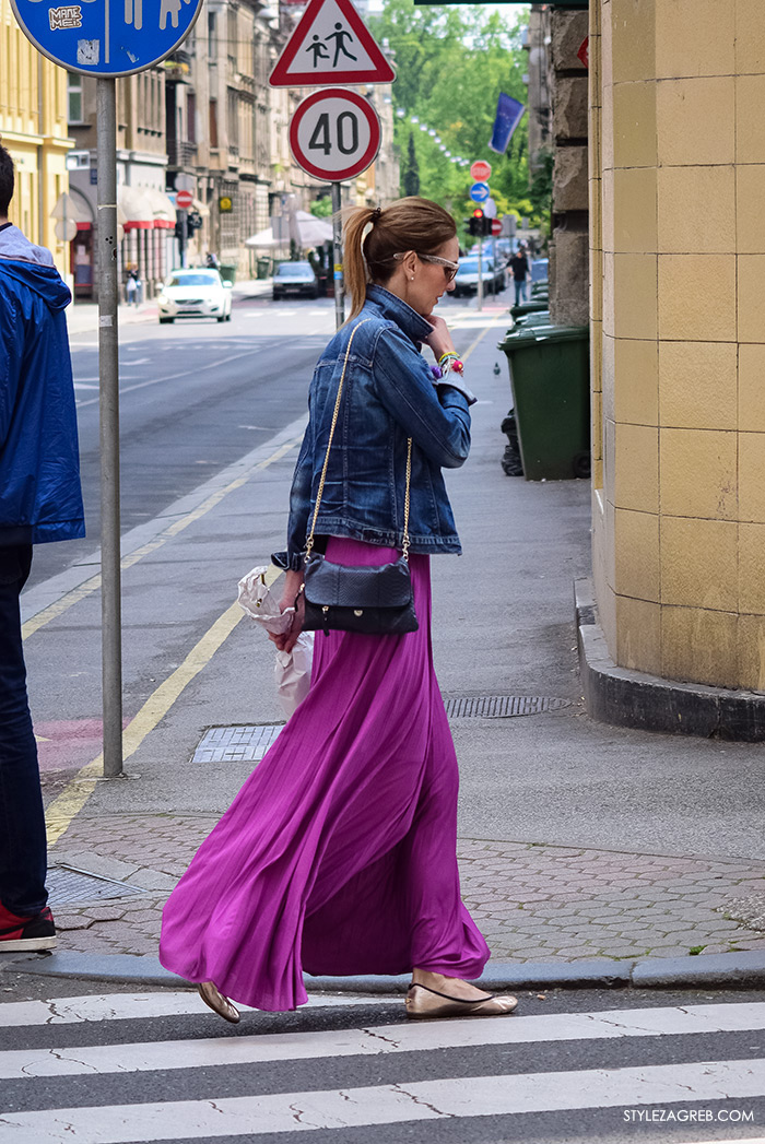 Zagreb ulična moda, Style Zagreb proljeće street style cro moda fashion žena hr, kako nositi duga suknja, traper jakna, metalik balerinke