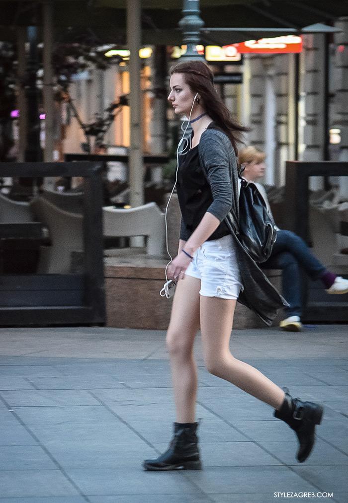 što djevojke odijevaju za večernji izlazak, street style Zagreb ulična moda bijeli traper šorc