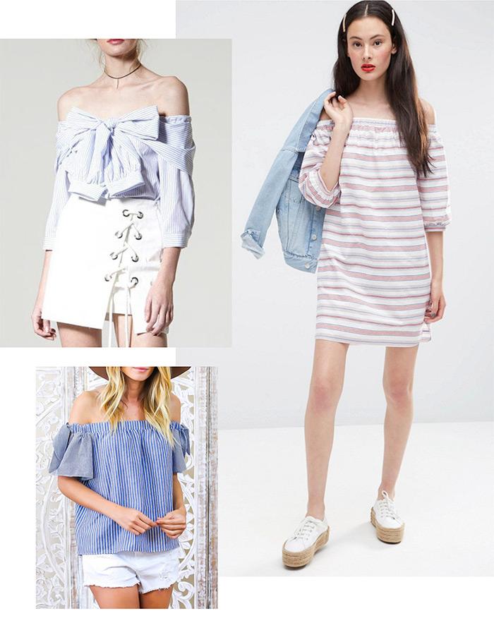 gdje kupiti prugasti topići golih ramena, off shoulder top dress, kako nositi ženska moda, street style Zagreb