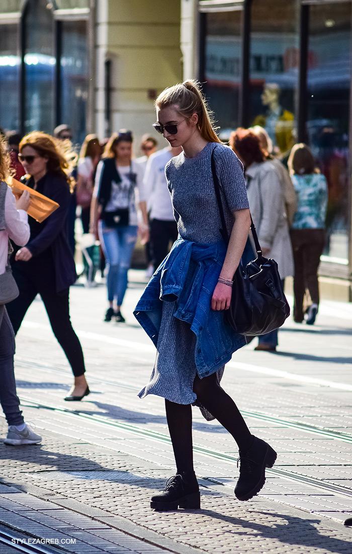 siva midi pletena haljina kako nositi, cro moda street style zagreb žena ulična moda fashion hr zagrebačka proljetna špica modne kombinacije trend portal zena hr
