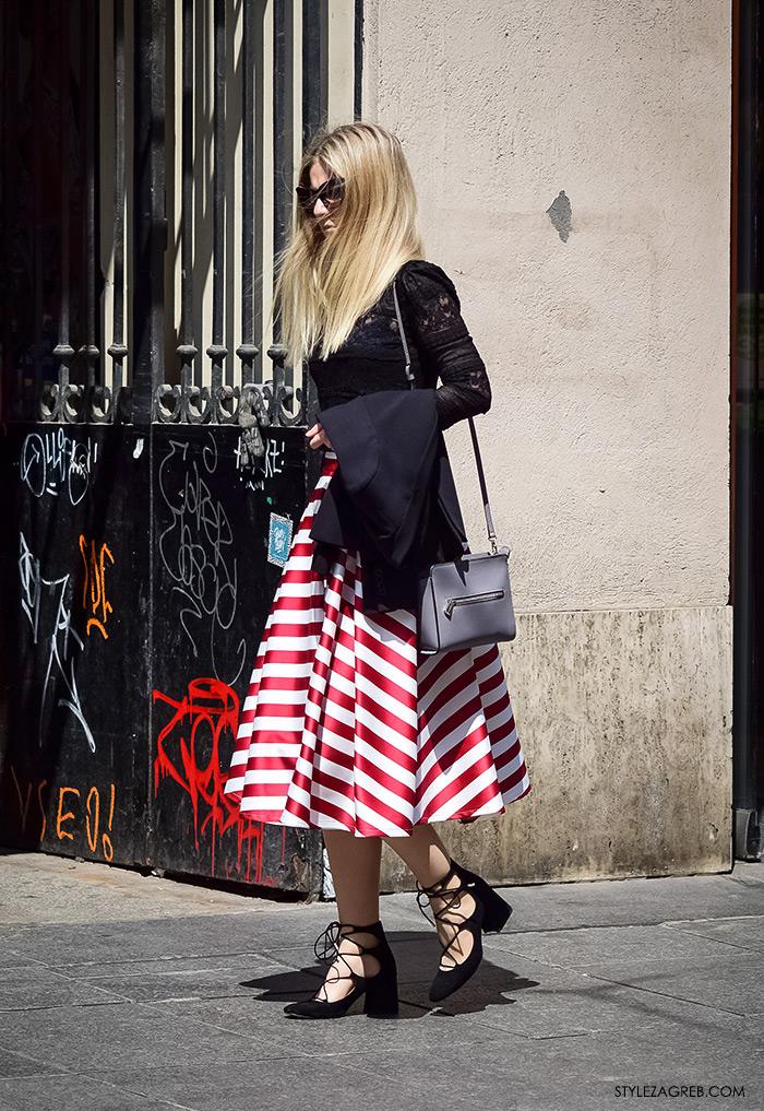 proljetna ulična moda Zagreb street style, prugasta midi suknja i cipele na vezanje
