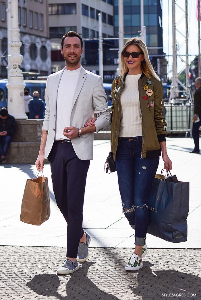 proljetna ulična moda Zagreb street style, daily look Ivana Cvrlje Zara bomber jakna i poderane traperice, elegantan muški outfit svjetli sako tamne hlače tenisice