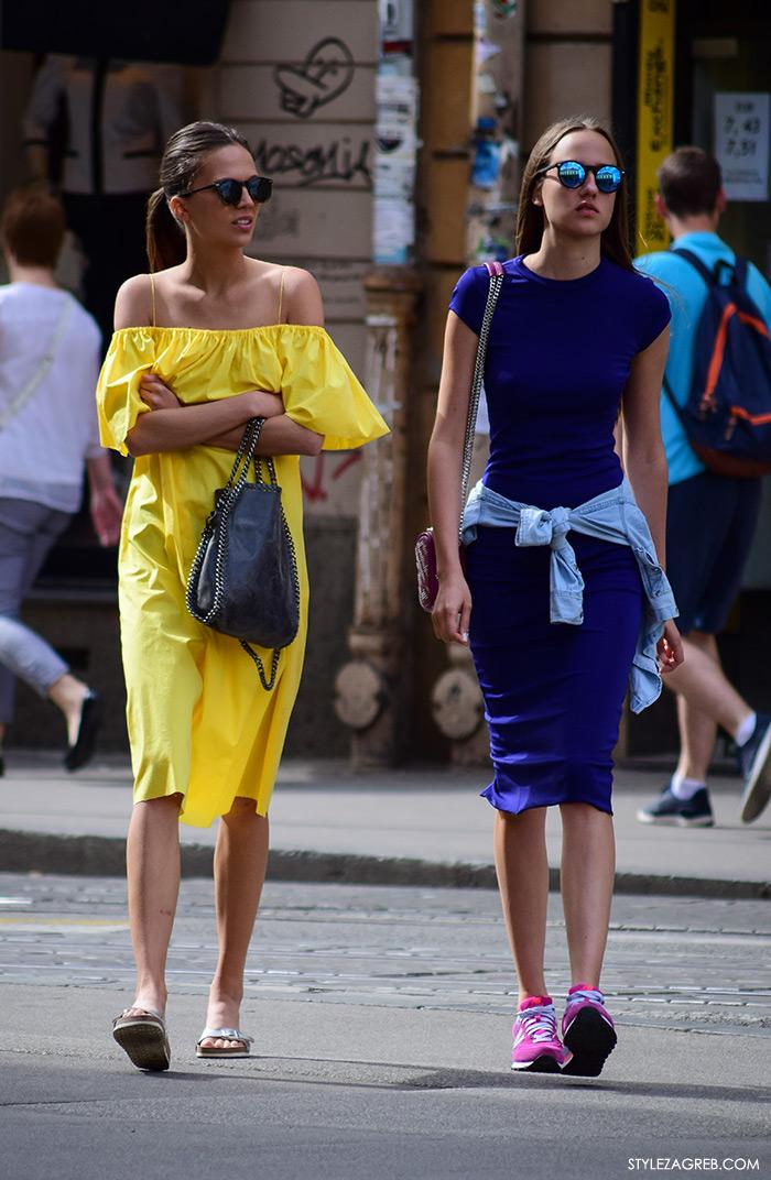 street style zagreb top haljina off shoulder gola ramena ženska moda žutaa haljina otvorenih ramena