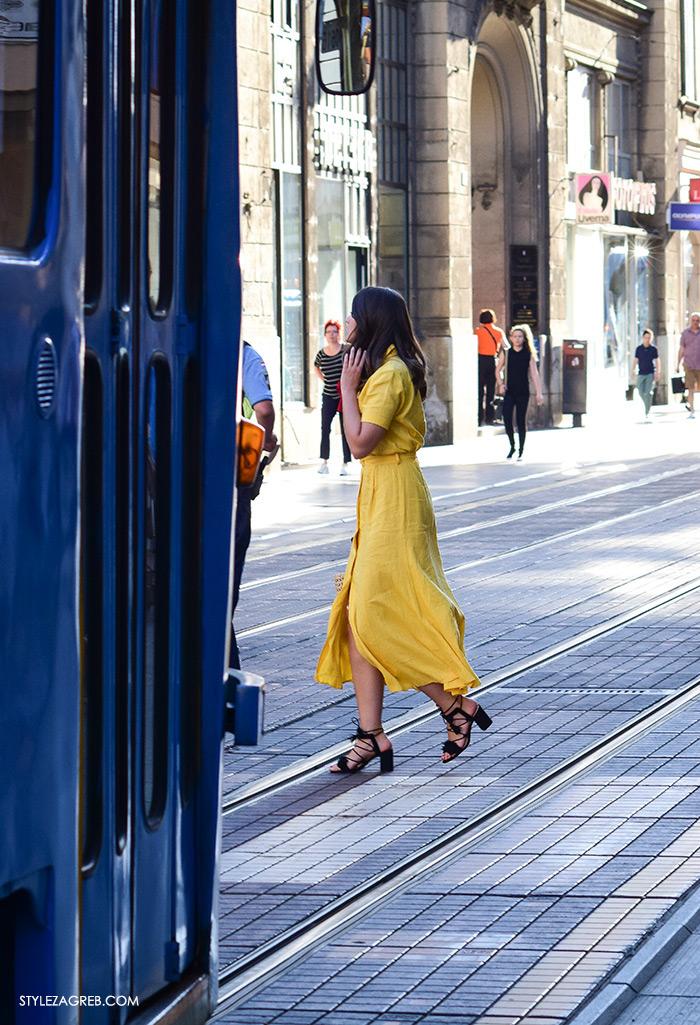 street style Zagreb, ulična ženska muška moda lipanj 2016, tramvaj Ilica, žuta lan midi haljina