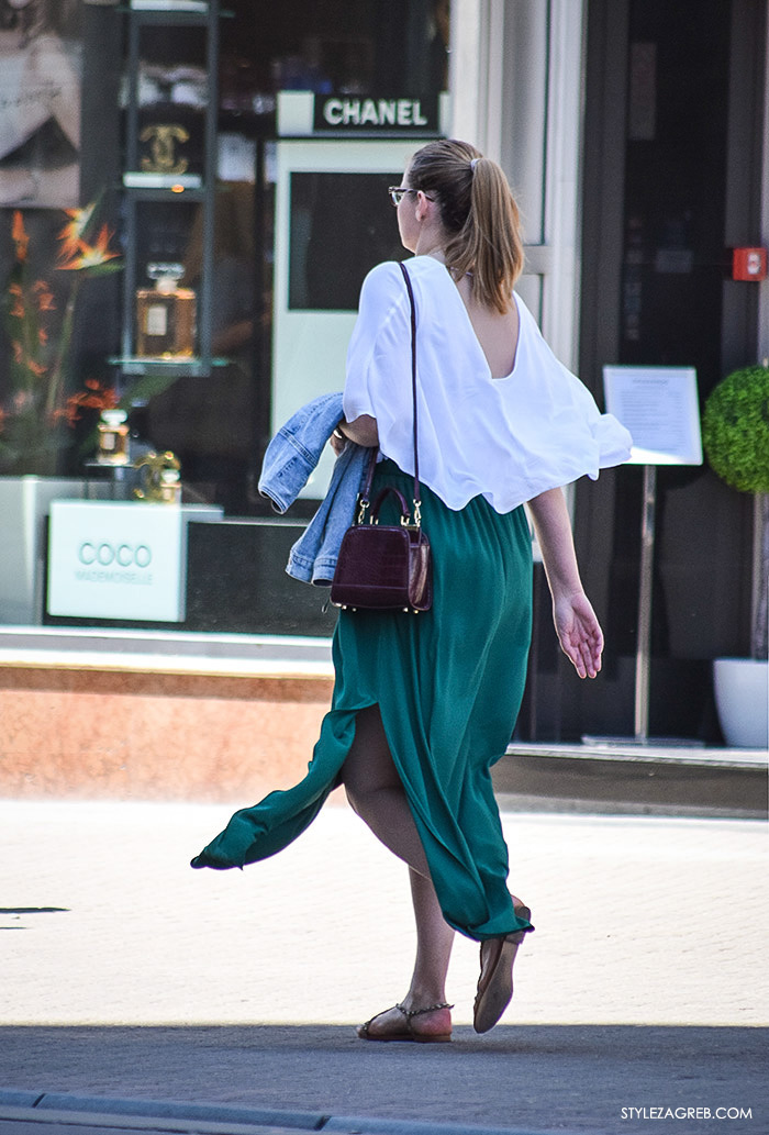 street style Zagreb, ulična ženska moda lipanj 2016 zelena maksi suknja i bijeli lepršavi top