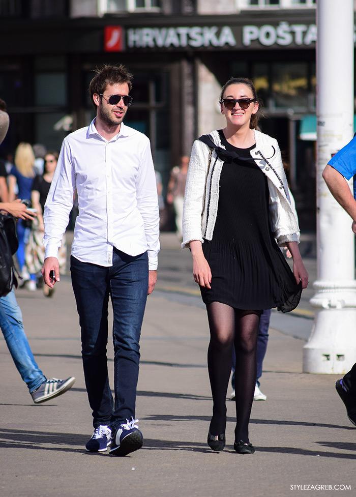 Street style Zagreb Hrvatska, ulična moda Zagreb, prosvjed Hrvatska može bolje 1.6.2016. Poslovna kombinacija ženska moda: bijela bukle Zara jakna i mala crna haljina, Danijel Hajden