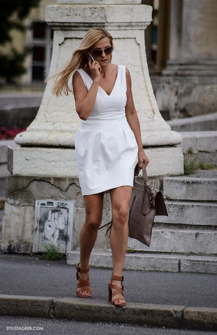 Street style Zagreb Hrvatska, ulična moda Zagreb, prosvjed Hrvatska može bolje 1.6.2016., atraktivna žena u bijeloj mini haljini, osunčan ten