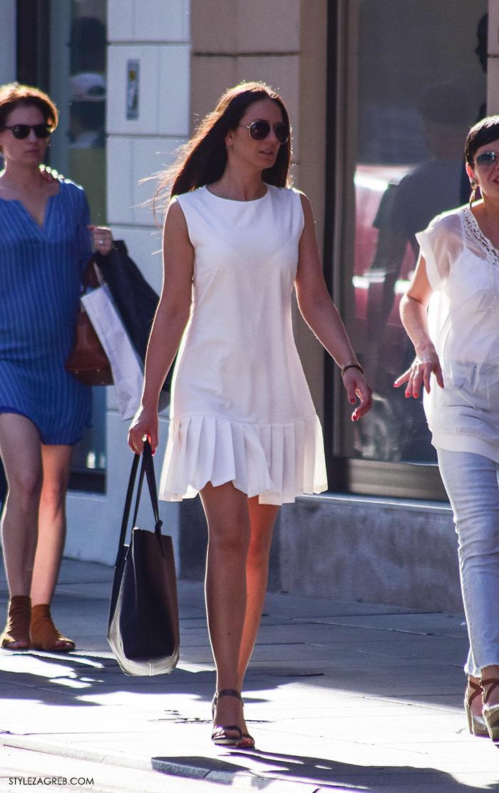 Ljeto ženska moda zagrebačka špica, street style Zagreb, kako nositi bijelu mini haljinu za posao