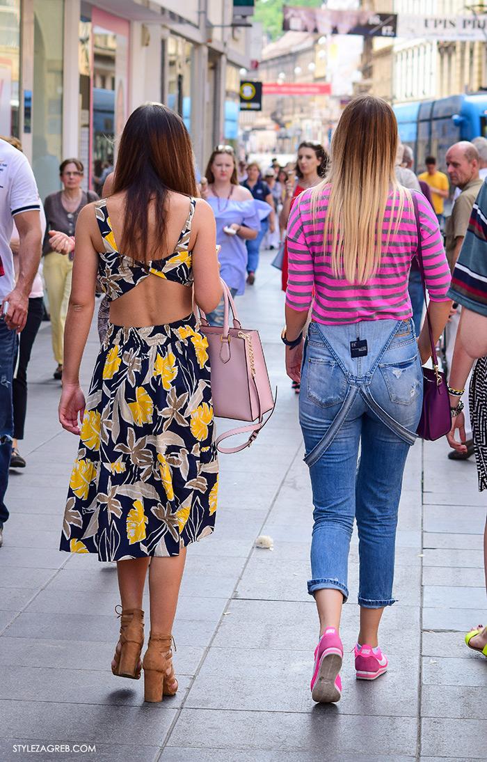 Ljeto ženska moda zagrebačka špica, street style Zagreb, cvjetasti kompletić Zara, traper tregerice