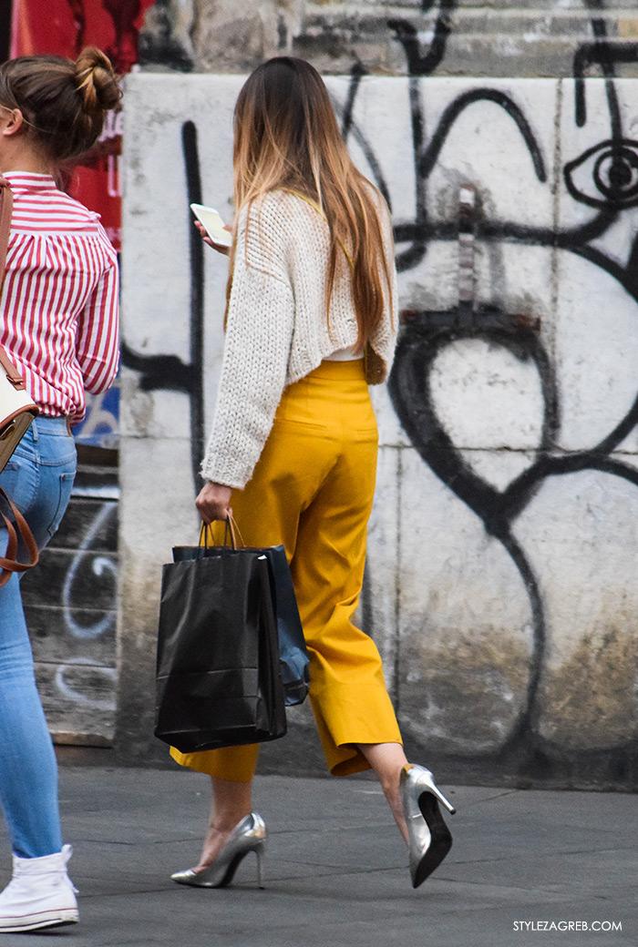 Poslovna moda 2016 jesen žena savjeti kako Zagreb street style ulična moda kombinacije poslovni look outfit styling, suknja-hlače, kratki džemper vesta, srebrne cipele na petu