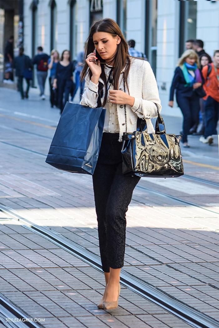 Poslovna moda 2016 jesen žena savjeti kako Zagreb street style ulična moda kombinacije poslovni look outfit styling, bež salonke i Zara Chanel blejzer