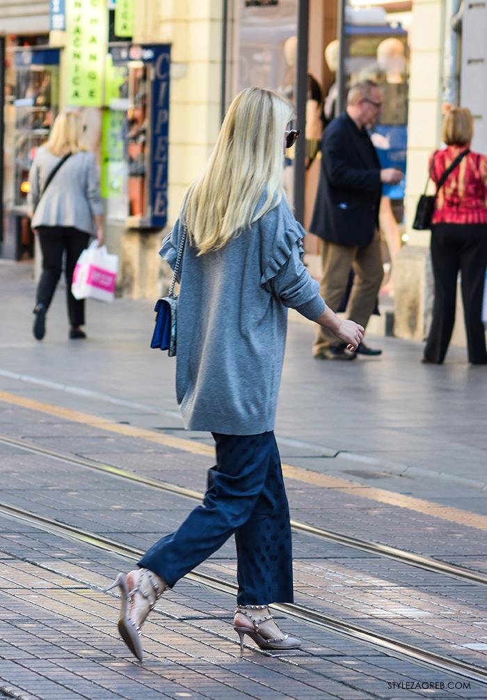 Odvjetnica Ana Olivari Pavličić, Poslovna moda 2016 jesen žena savjeti kako zagreb street style ulična moda kombinacije poslovni look outfit styling suknja-hlače, vesta s volanima, Gucci ženska torbica, Valentino cipele zakovice
