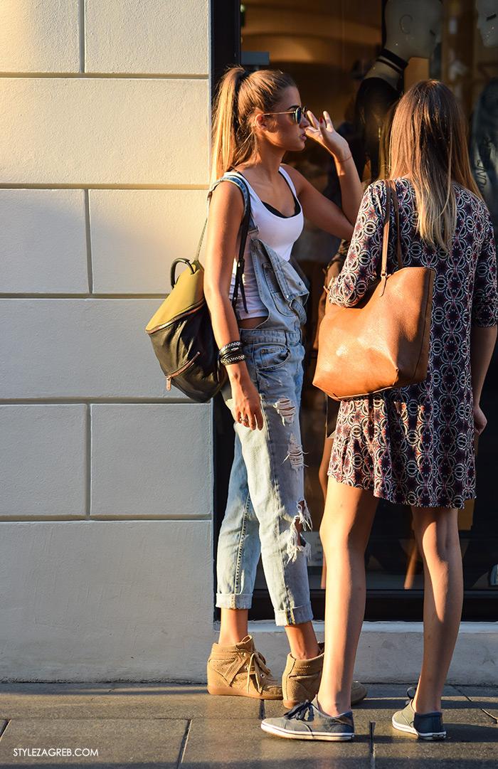 Street style Zagreb ulična moda rujan 2016 kraj ljeta, kako nositi traper tregerice i Isabel Marant tenisice sa skrivenom petom