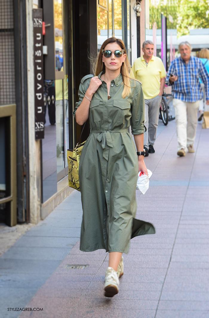 street style Zagreb moda jesen rujan 2016, kako nositi midi haljina military boja metlizirane sunčane naočale, tenisice Isabel Marant, fotka lijepa žena hr