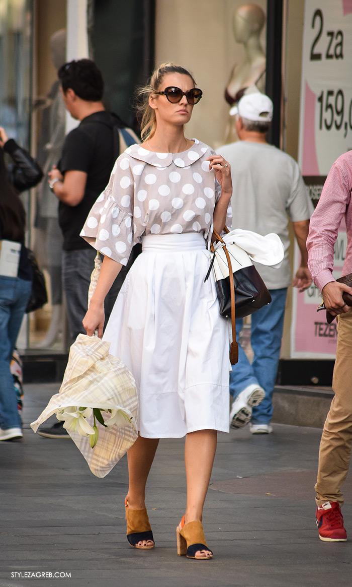street style Zagreb moda jesen rujan 2016, Lidija Lešić Instagram, midi bijela elegantna suknja i ženstveni top petar pan ovrtnik