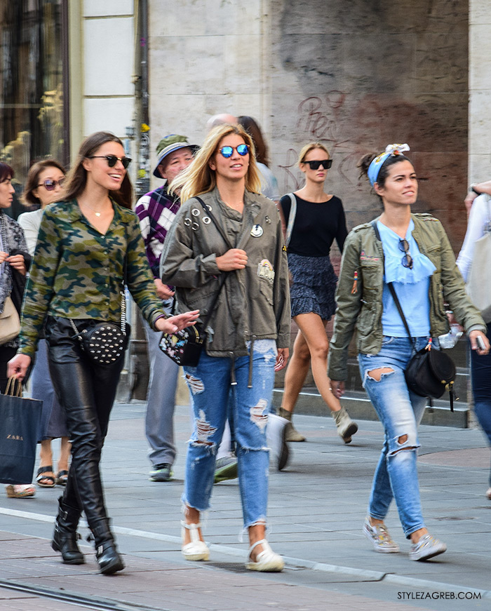 street style Zagreb moda jesen rujan 2016, styling military maslinaste jakne i poderane traperice, marama oko glave, metalizirane sunčane naočale