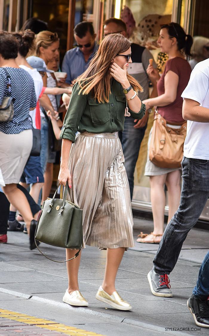 plisirane suknje zima 2016, gdje kupiti metalik plisirane suknje srebrne šljokičaste cipele zlatne tenisice moda 2016 jesen street style zagreb