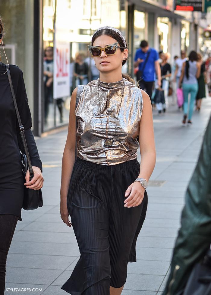 gdje kupiti metalik plisirane suknje srebrne šljokičaste cipele zlatne tenisice moda 2016 jesen street style zagreb crne plisirane suknja hlače culottes