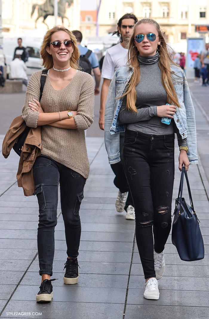 Street style Zagreb, moda zima 2016. kako nositi choker, casual look džemper i traperice